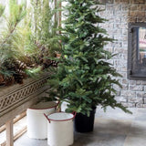 White Painted Metal Planters with Red Trim Inspired by vintage enamelware, perfect for a holiday tree