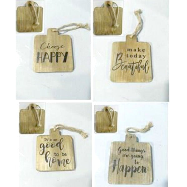 Rustic Wooden Wall Signs Set of Four Hanging Tags Ornaments
