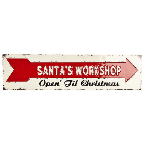 Rustic Holiday Wall Decor Sign reading Santa's Workshop Open Till Christmas