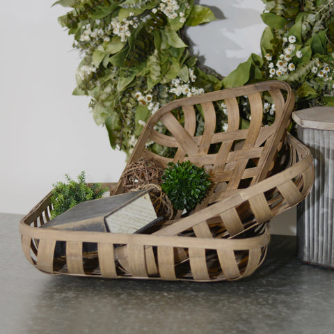 Vintage Inspired Farmhouse Tobacco Basket Set of Three