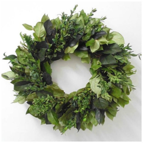 Preserved Boxwood and greens garden wreath