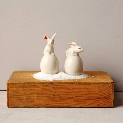 Stoneware Easter Bunny Salt and Pepper Shakers Set of Two