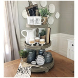 Rustic Wooden Three Tier Farmhouse or Country Cottage Serving Tray