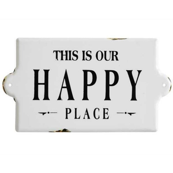 This is Our Happy Place Enamel Farmhouse Style Wall Decor Sign