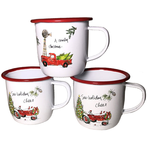 White and Red Enamel Metal Christmas Holiday Mug Set of Three perfect for hot cocoa, coffee or tea