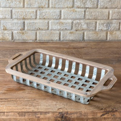 Rustic wood and metal industrial farmhouse open weave sorting basket