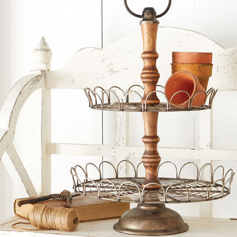 The Carmel Two Tier Wood and Metal Tray