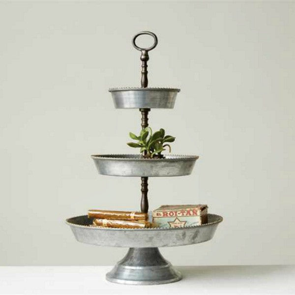 Victoria Three Tier Galvanized Metal Tray