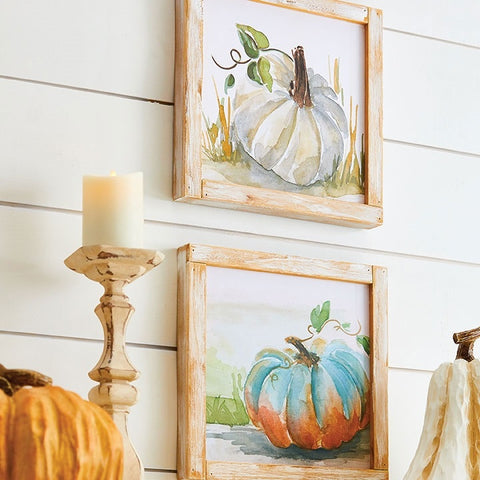 Wood Framed Rustic Pumpkin Signs - Set of Two