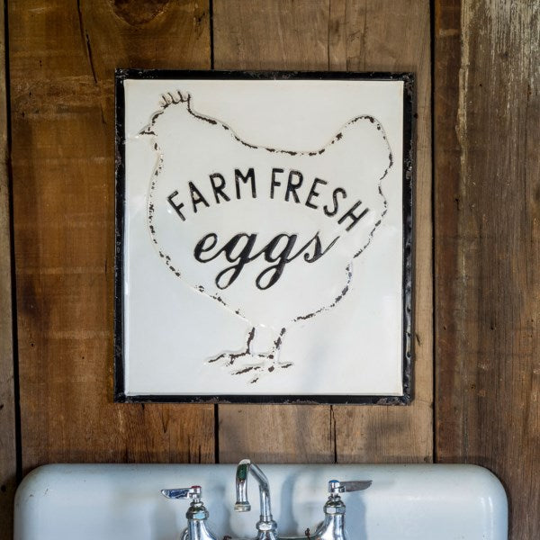 Embossed Metal Farm Fresh Eggs Sign perfect for Farmhouse or Country Cottage Home Decor