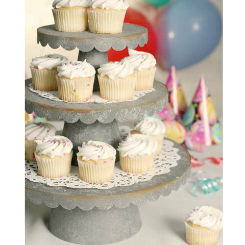 Galvanized Metal Scalloped Edge Cupcake or Cake Stands in Three Sizes