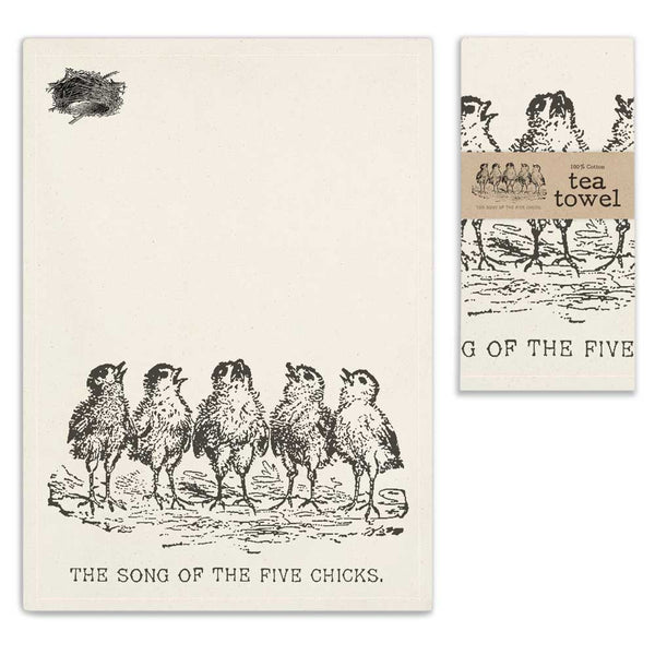 Tea Towel - Five Chicks