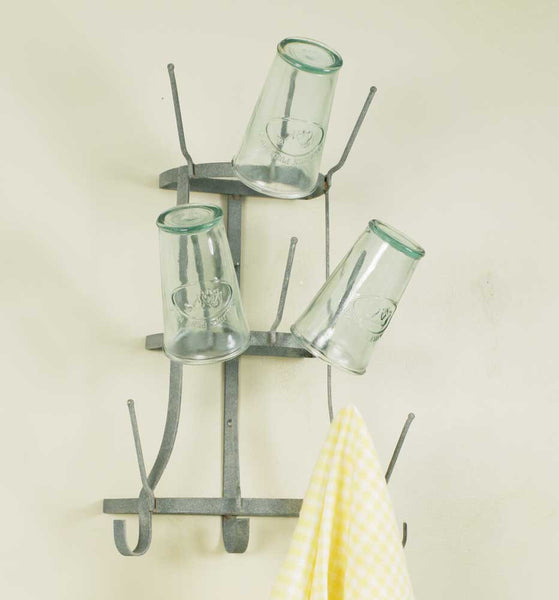 Metal Wall Mounted Mug Rack or Bottle Holder, perfect for a country cottage or rustic farmhouse kitchen or coffee bar