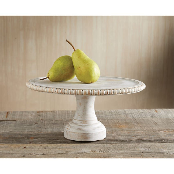 White Beaded Wooden Pedestal