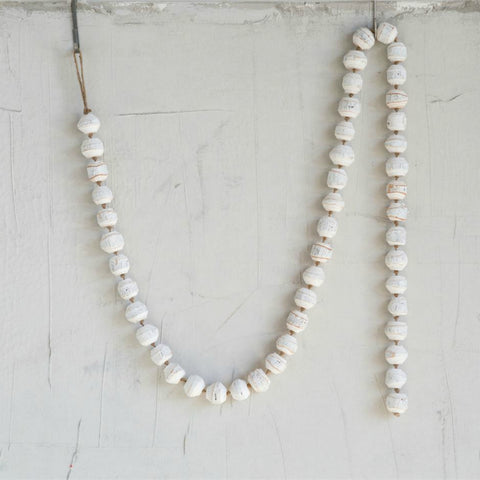 Rustic White Wood Bead Garland