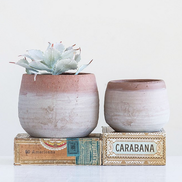 Whitewashed Terra-cotta Planter