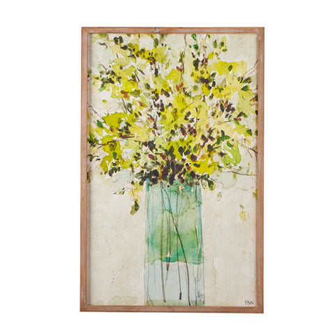 Wood Framed Flowers in Vase Wall Art