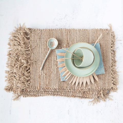 Woven Cotton and Jute Placemat - Set of Four