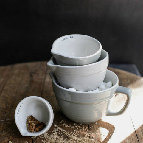 Stoneware Batter Bowl Measuring Cups - Set of Four