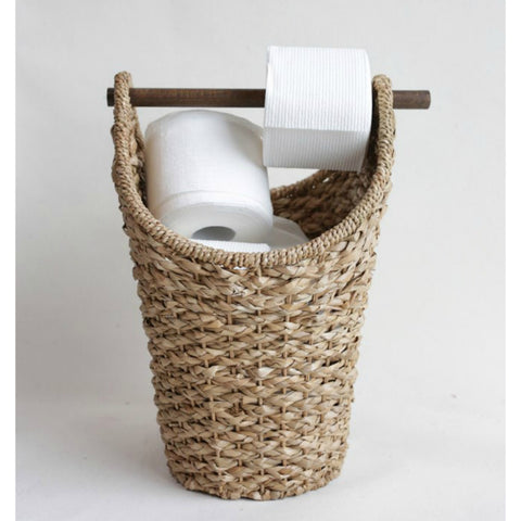 Woven Tissue Basket with Wood Handle