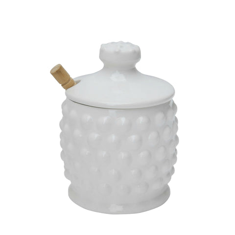Hobnail Style Honey Jar with Wood Dipper