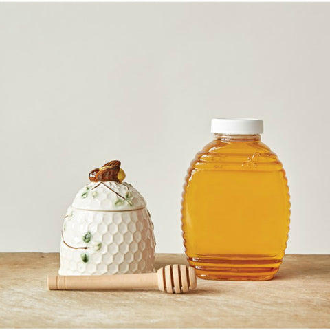 Stoneware Honey Jar with Bee