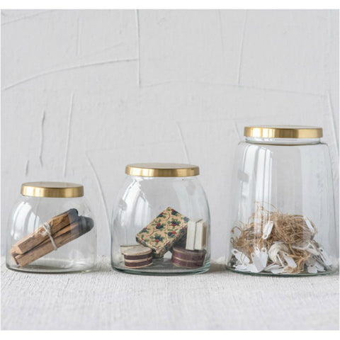 Glass Containers with Brass Lids - Set of Three