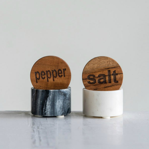 Marble Salt & Pepper Pots with Lids