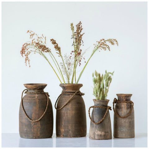 Found Wooden Urns - Three Sizes