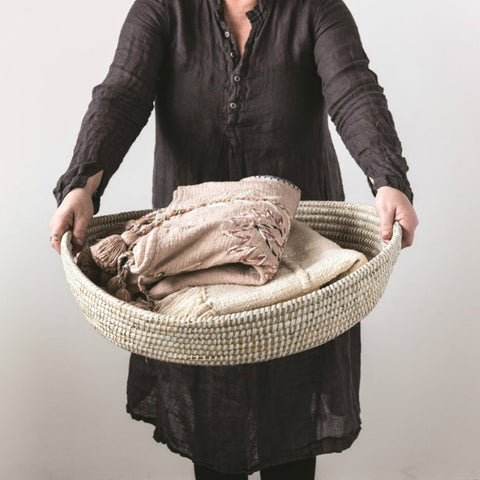 Handwoven Grass Basket with Handles