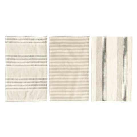 Black and Cream Striped Tea Towels - Set of Three