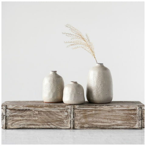 Sand and Grey Finished Terra Cotta Vases - Set of Three