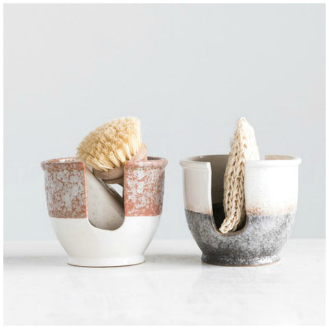 Reactive Glazed Stoneware Sponge Holder - Two Options