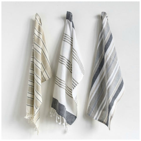 Cotton Striped Tea Towels - Set of Three