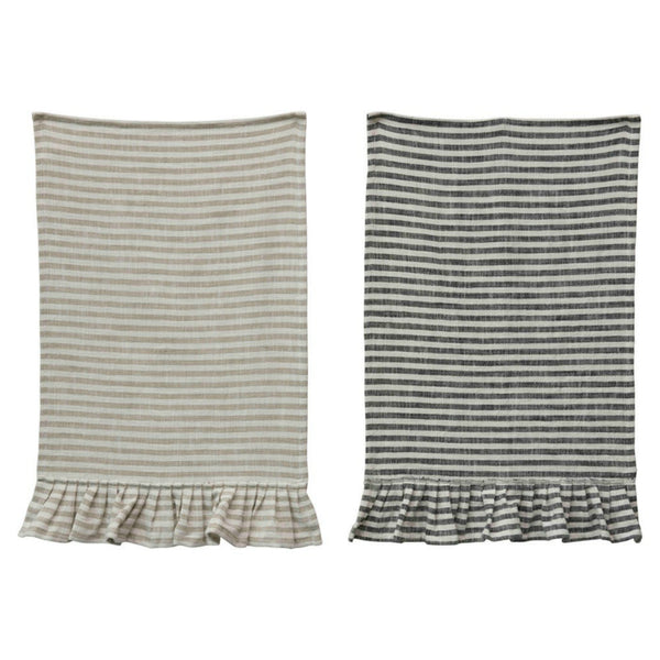 Ruffled Cotton Striped Tea Towels - Set of Two
