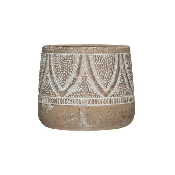 Embossed Whitewashed Terra-cotta Planter