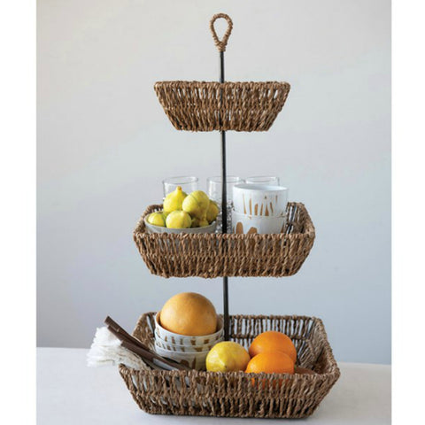 Flora Seagrass Three Tier Tray