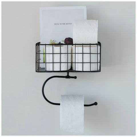 Black Metal Wall Basket with Tissue Holder