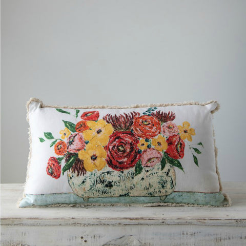 Flowers in Vase Lumbar Pillow