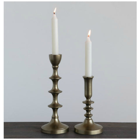 Antiqued Gold Candle Holders - Set of Two