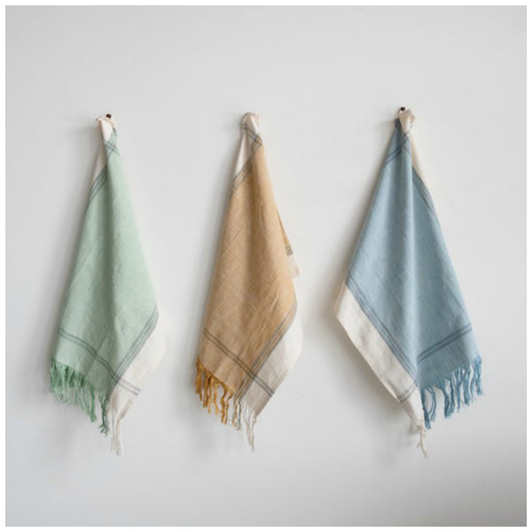 Colorful Fringed Tea Towels - Set of Three