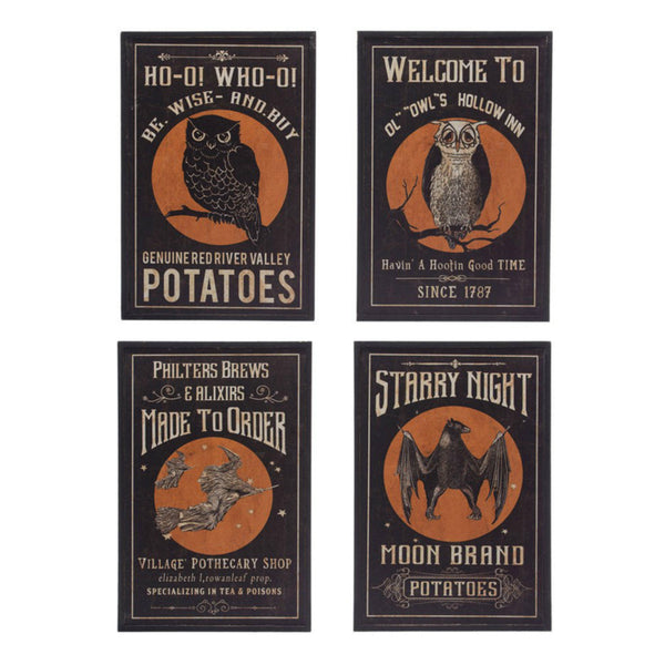 Vintage Inspired Halloween Wall Art - Set of Four
