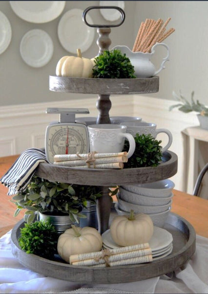 The Charlotte Wooden 3 Tier Tray Vintage Farmhouse Finds