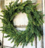 Rustic Faux Cedar Holiday Wreath perfect for a country cottage or farmhouse christmas decor
