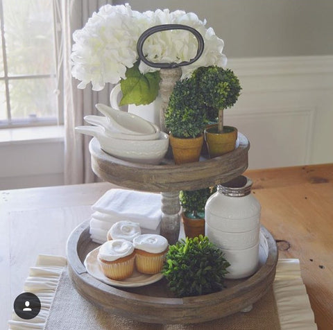 The Charleston Wooden Two Tier Tray