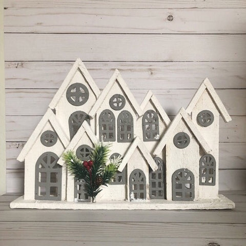 Wooden Village Decorative Piece