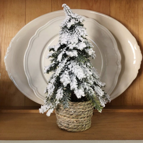 Faux Tree in Wicker Basket