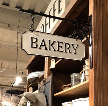 Metal Bakery Sign with Hanging Bracket