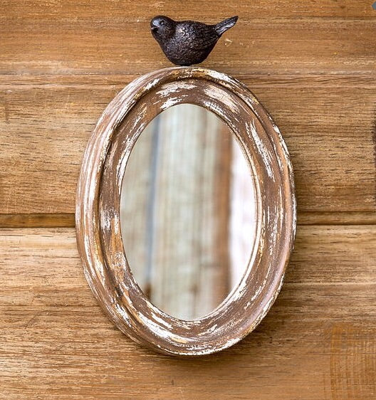 Wood Framed Mirror With Songbird
