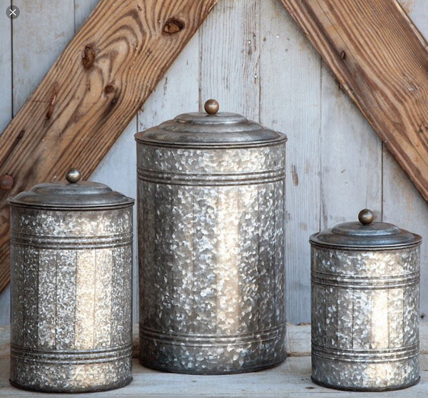 Tall Galvanized Canisters - Set of 3